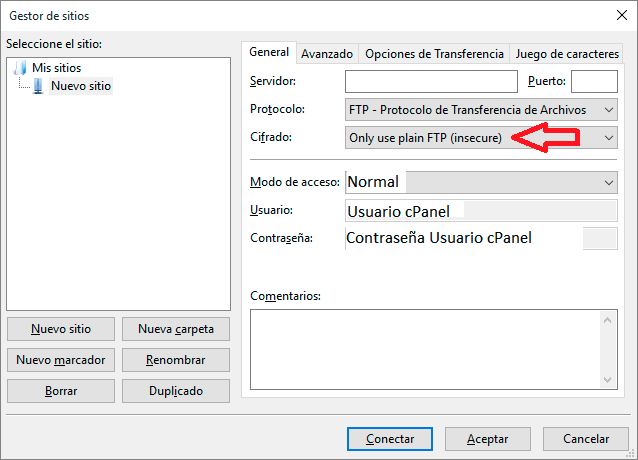 Configuración de Filezilla